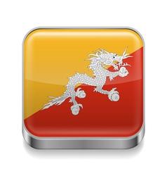 Metal icon of Bhutan vector image vector image