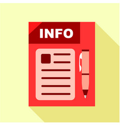 red info board icon flat style vector image vector image