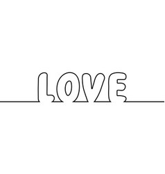 word love text one line drawing cartoon vector image vector image