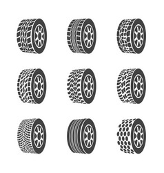 cartoon silhouette black tire or wheel icon set vector image