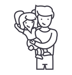 father with daughterdad with kid line icon vector image vector image