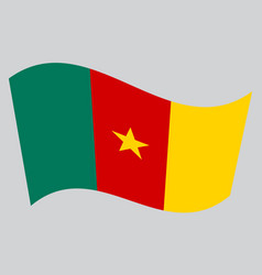 flag of cameroon waving on gray background vector image