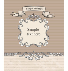 floral vignette border vintage frame card vector image vector image