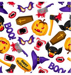 happy halloween seamless pattern with cartoon vector image vector image