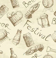 Sketch beer pattern vector image vector image