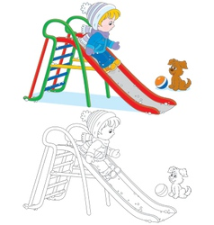Child on a slide vector image