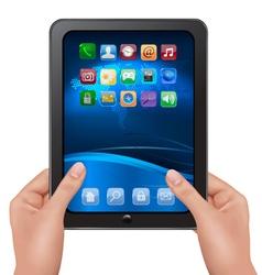 hands holding digital tablet computer vector image