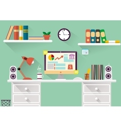 interior of working place concept in flat design vector image vector image