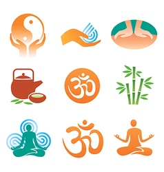Massage spa yoga icons vector image vector image