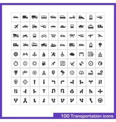 100 transportation icons set vector image