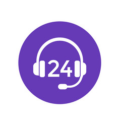 24 support service icon with headset vector