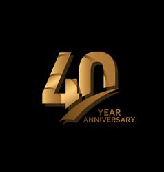 40 years gold elegant anniversary celebration vector