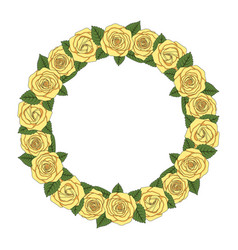 a round wreath of yellow roses vector image