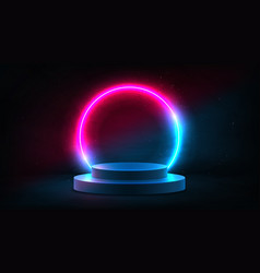 abstract neon background with pedestal vector image