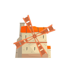 ancient stone windmill building cartoon vector image