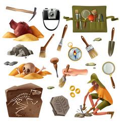 Archeology essential elements set vector