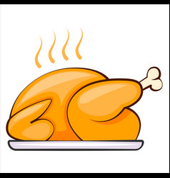 Baked turkey thanksgiving day grill chicken vector