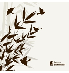 Bamboo bush with birds vector image