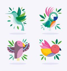 Birds different foliage nature fauna flora design vector