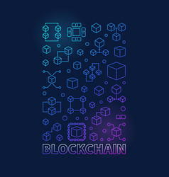 Blockchain colored vertical poster or vector