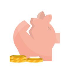 Broken piggy bank and coin money stock market vector