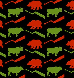 Bulls and bears traders seamless pattern Green Red vector