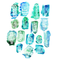 Cactuses on the watercolor background vector