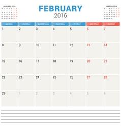 Calendar Planner 2016 Flat Design Template vector
