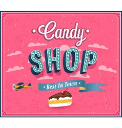 Candy shop typographic design vector