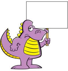 cartoon angry dinosaur holding a sign vector image