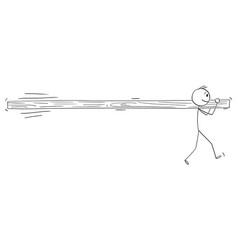 Cartoon one individual man holding vector