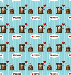 coffee machine and coffee grinder seamless pattern vector image