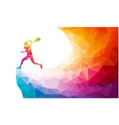 Creative silhouette female squash player vector