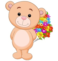 Cute bear cartoon holding flower bucket vector image vector image