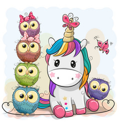 Cute cartoon unicorn and owls vector