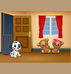 Cute couple teddy bear with a dog in the living ro vector