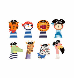 Cute little animals pirates set vector