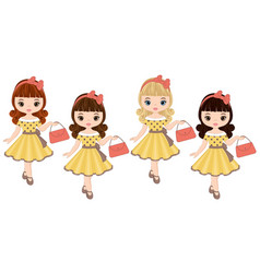 Cute little girls in retro style vector