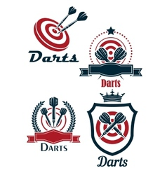 Darts sporting emblems vector
