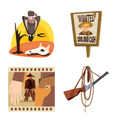 Design wild and west sign set wild vector