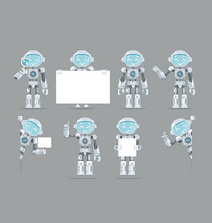 Different poses boy teen robot android artificial vector
