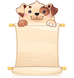 Dog with scroll vector image