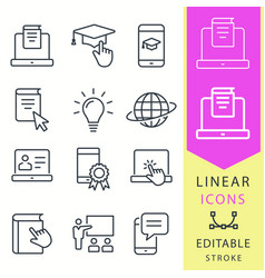 e-learning distance education icons set vector image