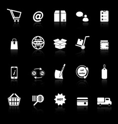 Ecommerce icons with reflect on black background vector