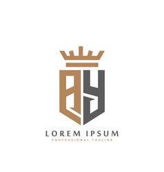 elegant wordmark ay initial shield crown logo vector image