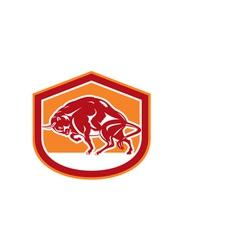 European Bison Charging Shield Retro vector