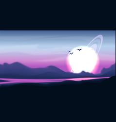 fantastic panorama fantasy landscape vector image