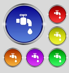 Faucet icon sign Round symbol on bright colourful vector