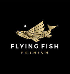 flying fish monoline outline logo icon vector image