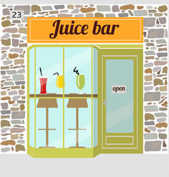Fresh juice bar building vector